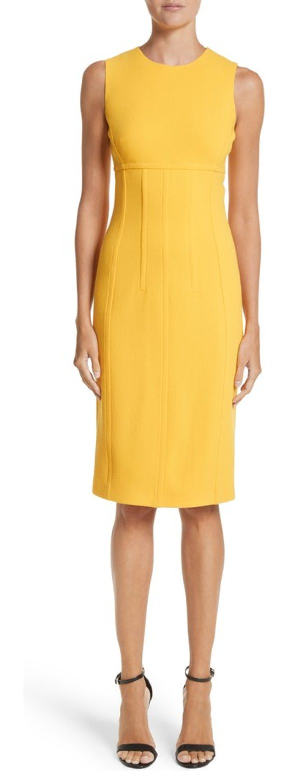 Michael Kors stretch boucle crepe sheath dress in lemon - Shapely princess seams and supportive boning streamline...