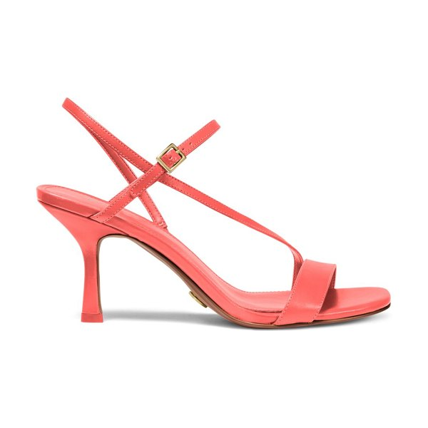 Michael Kors tasha leather slingback sandals in pink grapefruit,optic white