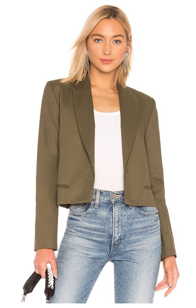 Michael Lo Sordo Crop Blazer in green - 100% cotton. Dry clean only. Padded shoulders. Exposed...