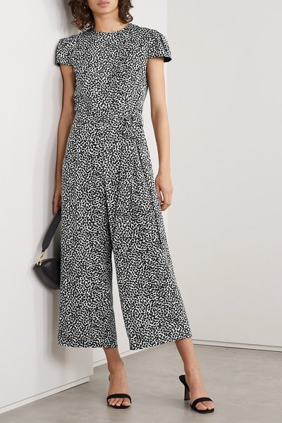 MICHAEL Michael Kors belted printed twill jumpsuit in black