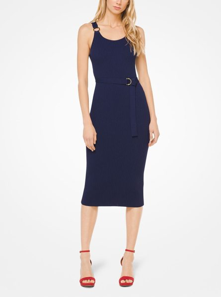 Michael Kors Belted Ribbed Knit Dress In Blue A Flattering Option For Daytime Or