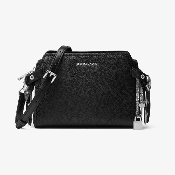MICHAEL Michael Kors Bristol Leather Messenger in black - Crafted From Pebbled Leather In A Chic And Compact...