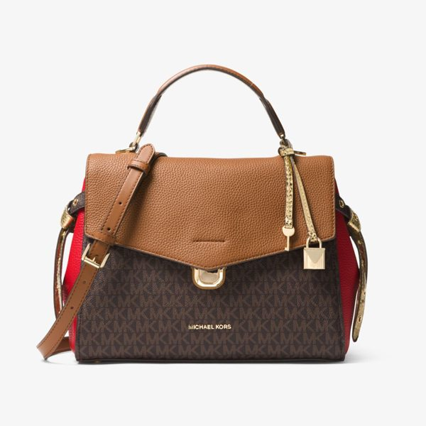 MICHAEL Michael Kors Bristol Medium Logo Satchel in brown - Soft Meets Structured On Our Bristol Satchel Crafted...