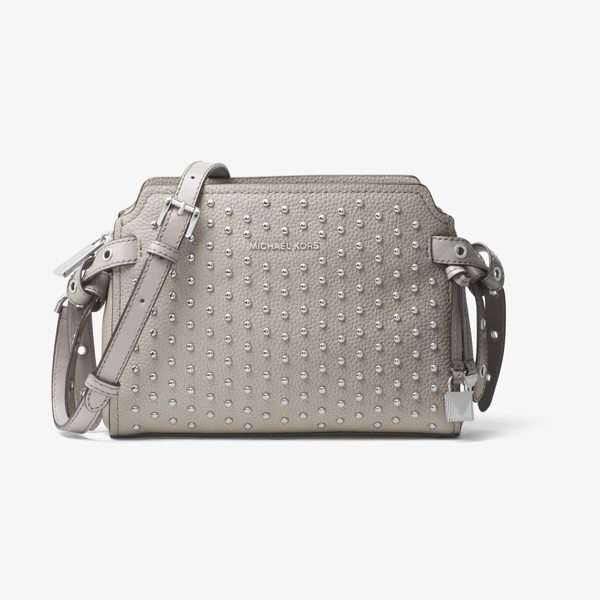 MICHAEL Michael Kors Bristol Studded Leather Crossbody in grey - Crafted From Studded Leather In A Chic And Compact...