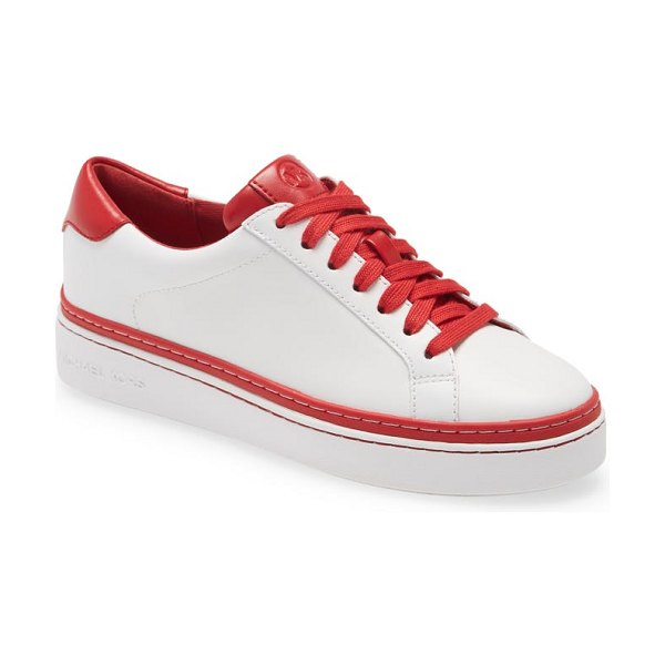 MICHAEL Michael Kors chapman lace-up sneaker in optic/ bright red