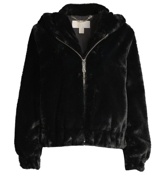 MICHAEL Michael Kors faux fur hooded jacket in black