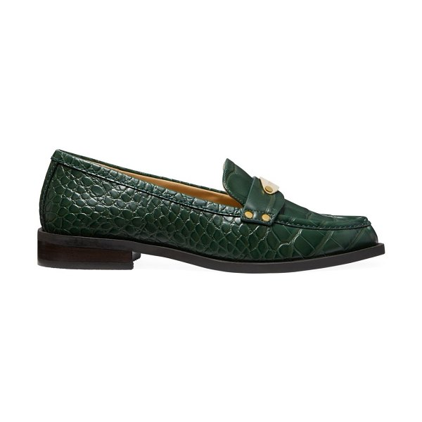 MICHAEL Michael Kors finley croc-embossed loafers in moss