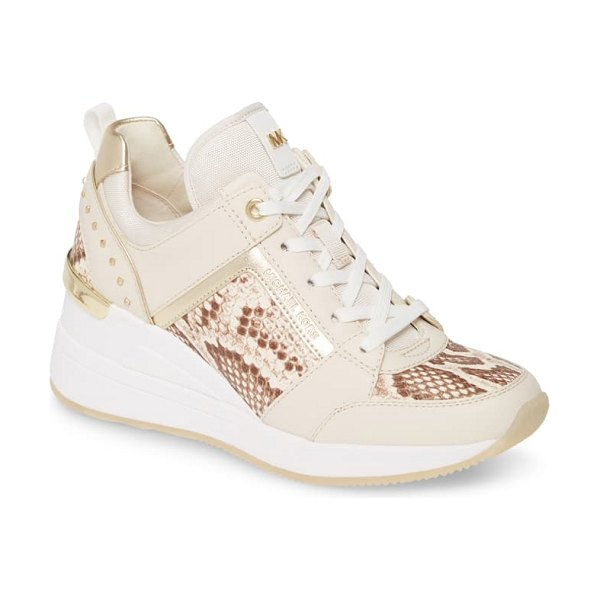 MICHAEL Michael Kors georgie wedge sneaker in light cream multi