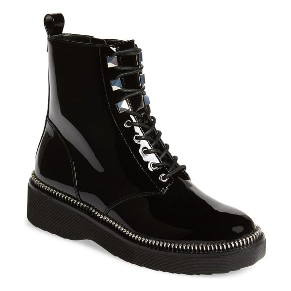 MICHAEL Michael Kors haskell combat boot in black patent leather