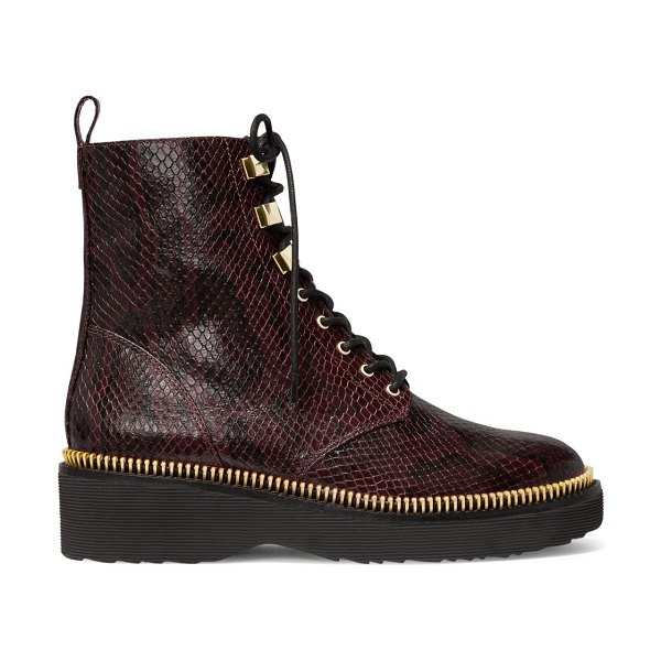MICHAEL Michael Kors haskell snakeskin-embossed leather combat boots in barolo