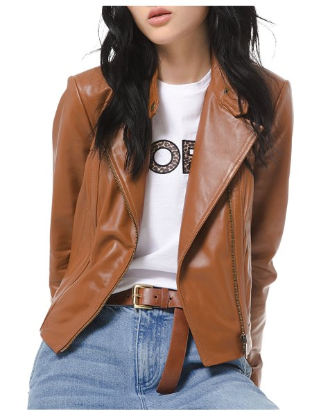 MICHAEL Michael Kors Leather Moto Jacket in luggage
