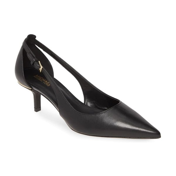MICHAEL Michael Kors lorene cutout pump in black vachetta leather