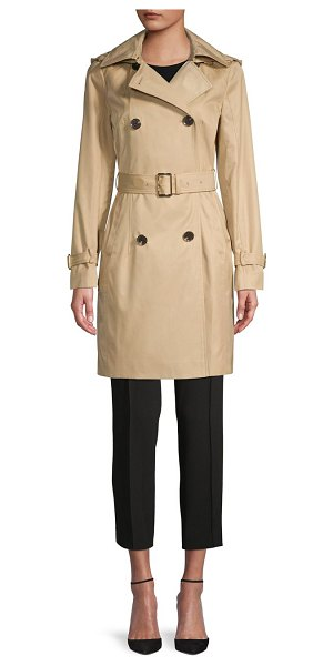 MICHAEL Michael Kors Missy Belted & Hooded Trench Coat in khaki