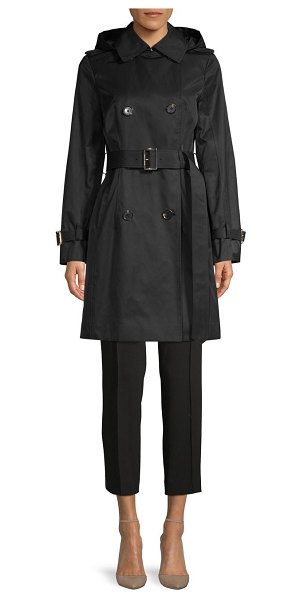 MICHAEL Michael Kors Missy Belted & Hooded Trench Coat in black