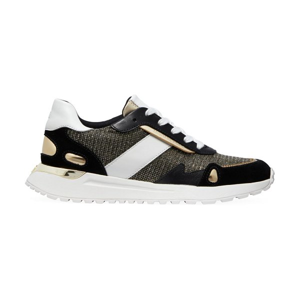 MICHAEL Michael Kors monroe glitter glamour suede & leather sneakers in gold