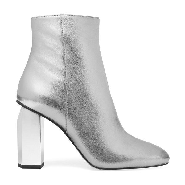 MICHAEL Michael Kors petra metallic leather ankle boots in sterling silver