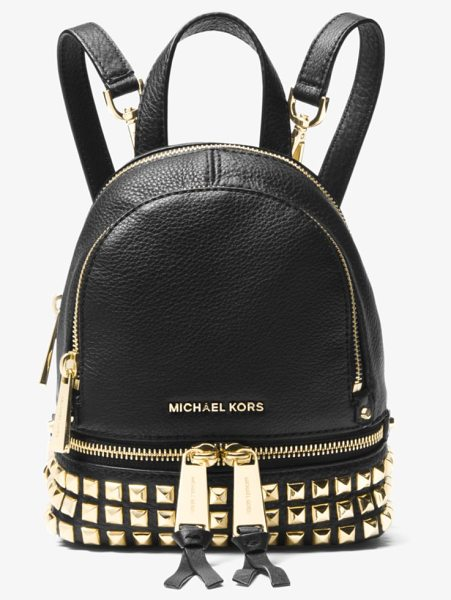 6c357c679554 ... cheap michael michael kors rhea mini studded leather backpack in black  rows of high shine 6133f ...