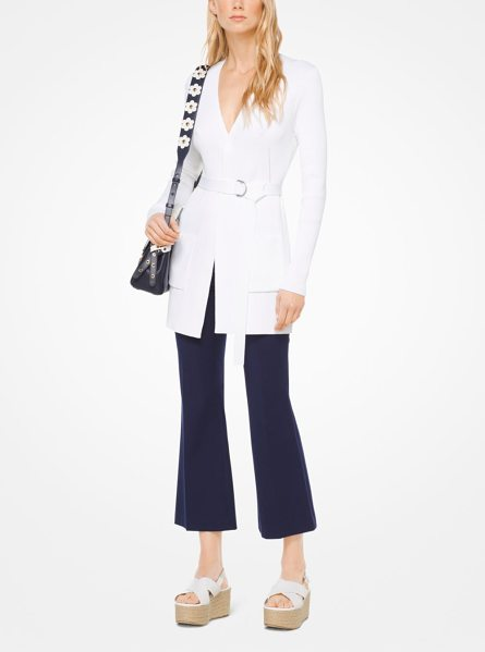 MICHAEL MICHAEL KORS Ribbed Stretch-Viscose Cardigan in white - Fine Ribbing Enhances The Slim Cut Of This Open-Front...