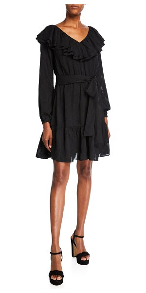 MICHAEL Michael Kors Ruffle V-Neck Long-Sleeve Dress in black