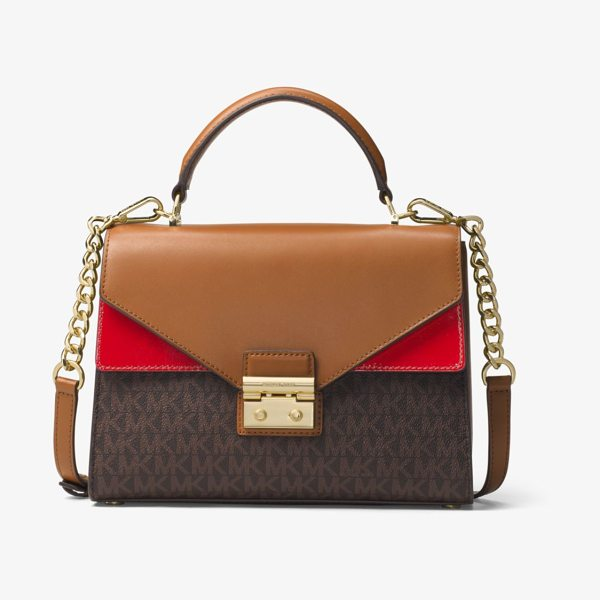 MICHAEL Michael Kors Sloan Logo And Leather Satchel in brown - A Smart And Structured Piece For Every Day The Sloan...