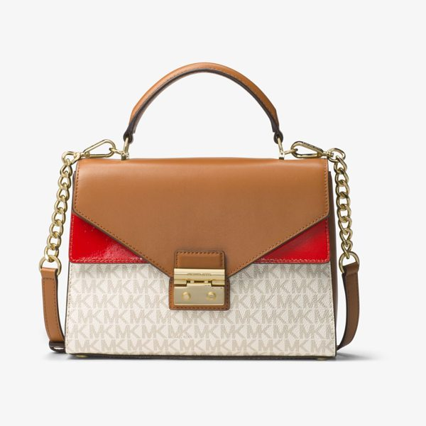 MICHAEL Michael Kors Sloan Logo And Leather Satchel in red - A Smart And Structured Piece For Every Day The Sloan...