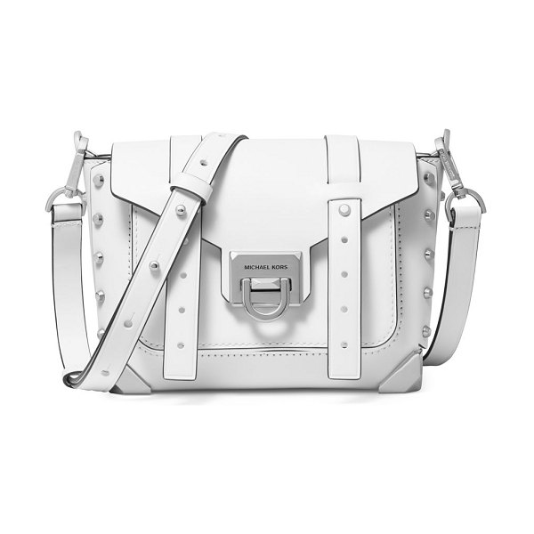 MICHAEL Michael Kors small manhattan studded leather crossbody satchel in optic white