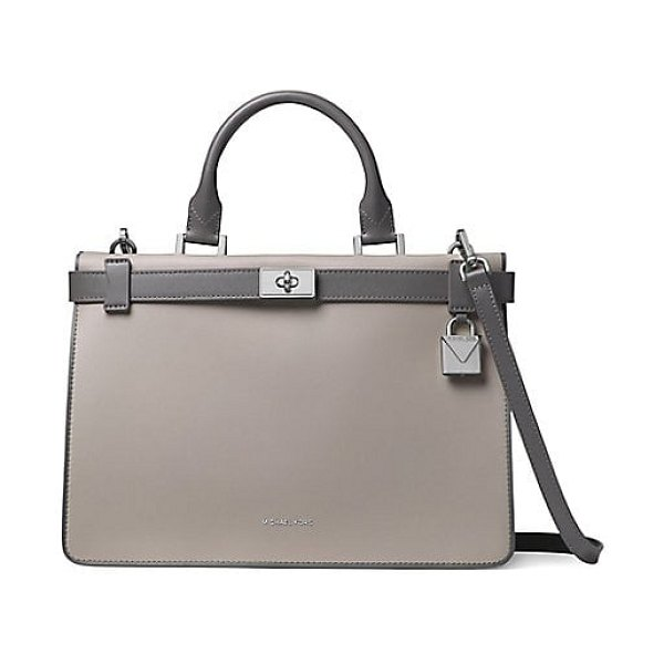 MICHAEL Michael Kors tatiana medium leather satchel in grey