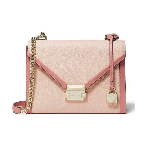 MICHAEL Michael Kors Whitney Large Flap Shoulder Bag in light pink - MICHAEL Michael Kors two-tone leather shoulder bag....