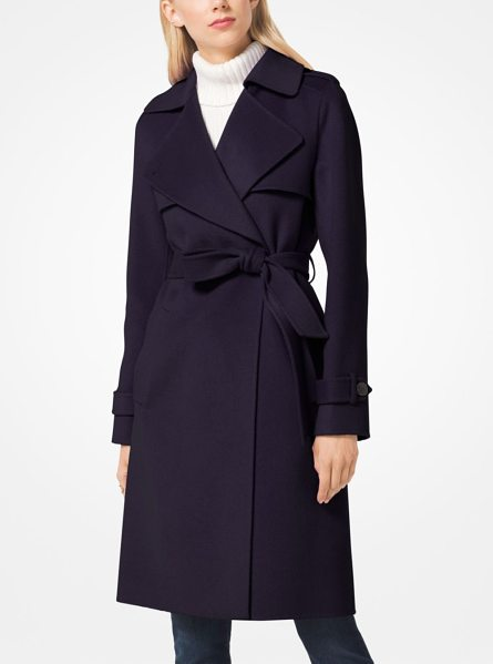 MICHAEL Michael Kors Wool-Blend Wrap Coat in purple - A Chic Outerwear Staple This Wrap Coat Is Designed In A...