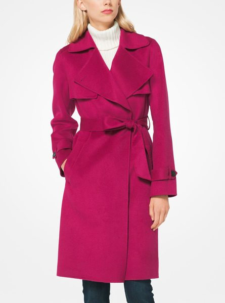 MICHAEL Michael Kors Wool-Blend Wrap Coat in pink - A Chic Outerwear Staple This Wrap Coat Is Designed In A...