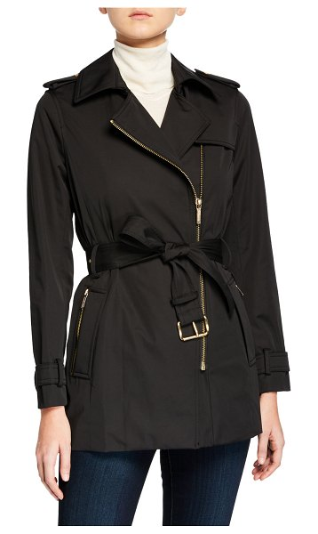 MICHAEL Michael Kors Zip-Front Trench Jacket in black