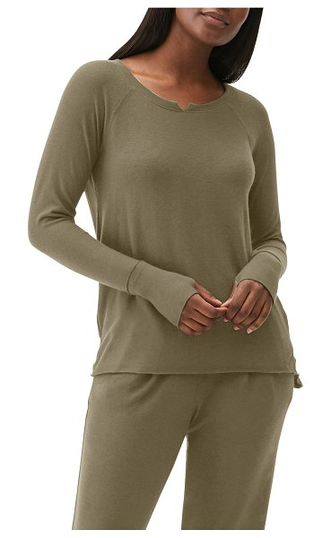 Michael Stars Notched-Neck Top w/ Thumbholes in oli