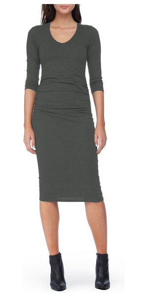 Michael Stars ruched midi dress in olive moss