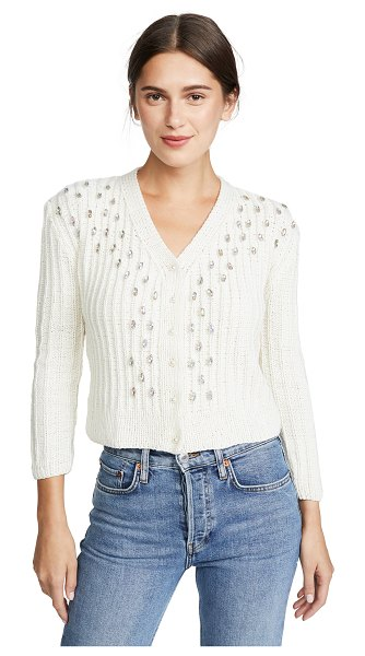 Michaela Buerger hand knit crystal cashmere cardigan in white