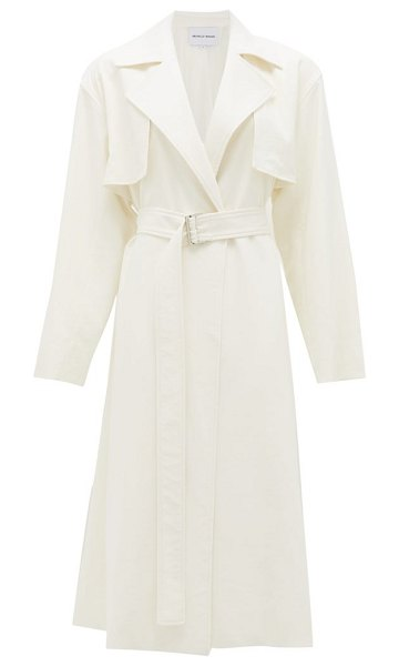 Michelle Waugh the carina oversized cotton-blend trench coat in white