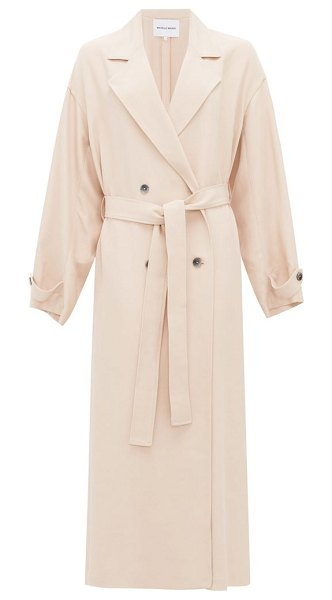 Michelle Waugh the jany double-breasted belted trench coat in light pink