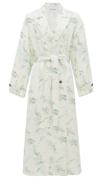 Michelle Waugh the jany double-breasted fern-print trench coat in green print