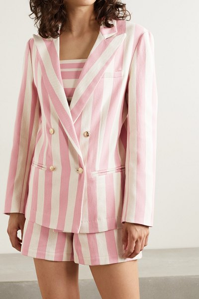 Miguelina chiara double-breasted striped cotton-twill blazer in pink