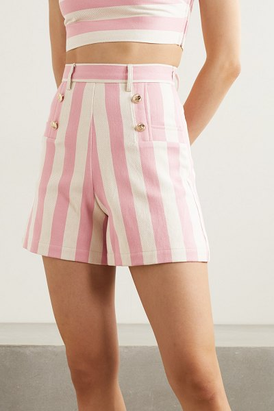 Miguelina giada button-embellished striped cotton-twill shorts in pink
