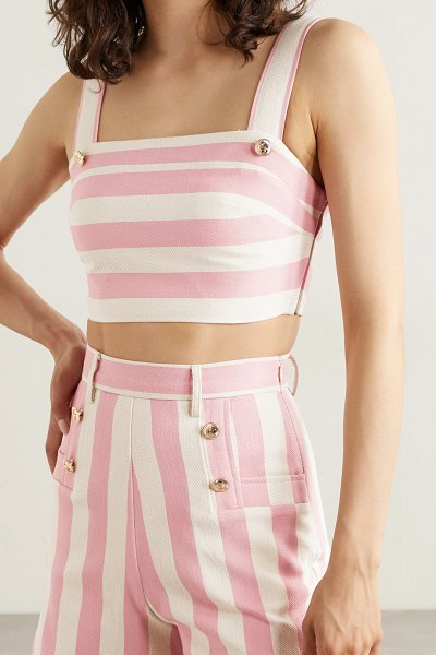 Miguelina isabella cropped button-embellished striped cotton-twill top in pink