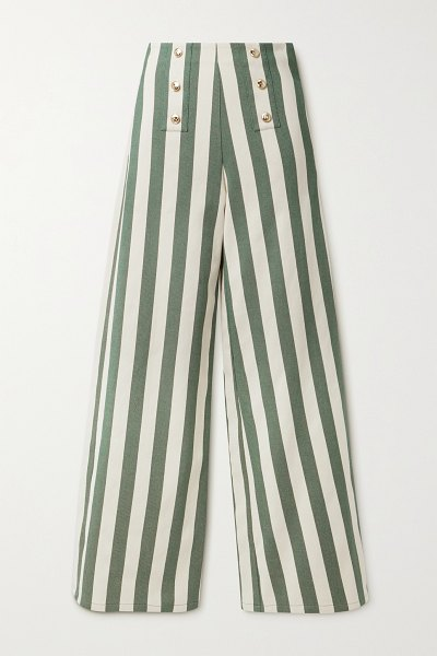 Miguelina serafina button-embellished striped cotton-twill wide-leg pants in green