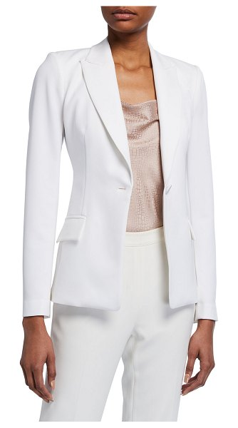 Milly Avery One-Button Cady Blazer in white