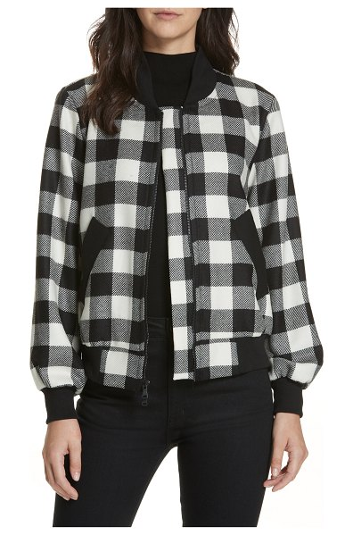 Milly check plaid bomber jacket in white - Graphic Buffalo check enlivens a sporty bomber of soft...