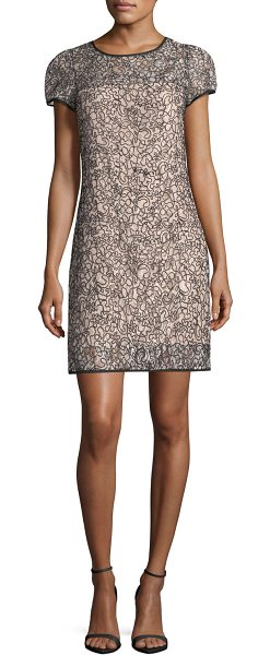 MILLY Chloe Short-Sleeve Corded Lace Cocktail Dress in Beige | Shopstasy