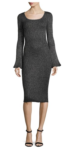 7ef82e0431 Milly Flare-Sleeve Ribbed Metallic Sweater Dress in Gray