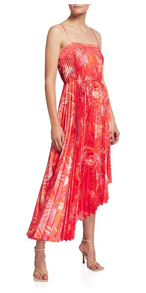 Milly Irene Tropical Palm-Print Asymmetric Dress in coral multi