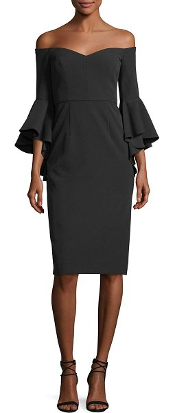 "Milly Italian Cady Selena Off-the-Shoulder Flutter-Sleeve Cocktail Dress in black - Milly ""Selena"" cocktail dress in Italian cady. Approx...."