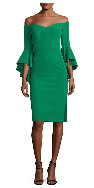 "MILLY Italian Cady Selena Off-the-Shoulder Flutter-Sleeve Cocktail Dress - Milly ""Selena"" cocktail dress in Italian cady. Approx...."