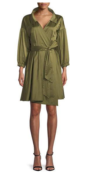 Milly Italian Ss Taffeta Wrap Dress In Olive