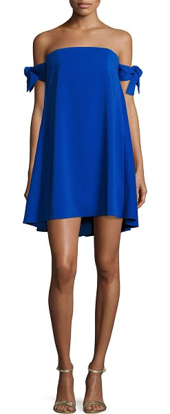 d1f0375cbce3c Milly Jade Off-The-Shoulder Italian Cady Swing Dress in Blue | Shopstasy